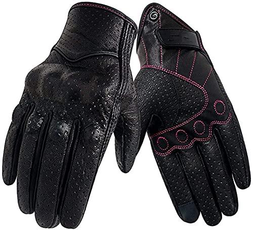 Invierno guantes cálidos mujeres cuero pantalla táctil de verano motor ciclismo guante femenino motocross moto for esquiar camping senderismo correr ciclismo conducir ( Color : Black , Size : M )