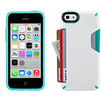 Speck Products Candyshell Card Cell Phone Case for iPhone 5c - White/Caribbean Blue