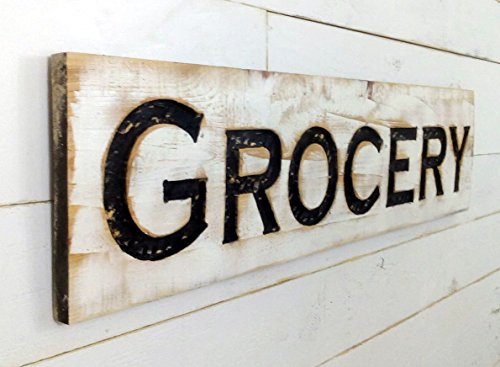 """Grocery Sign - 40""""x10"""" Carved in a Cypress Board Rustic Distressed Shop Advertisement Farmhouse Decor Wooden Fixer Upper Style"""