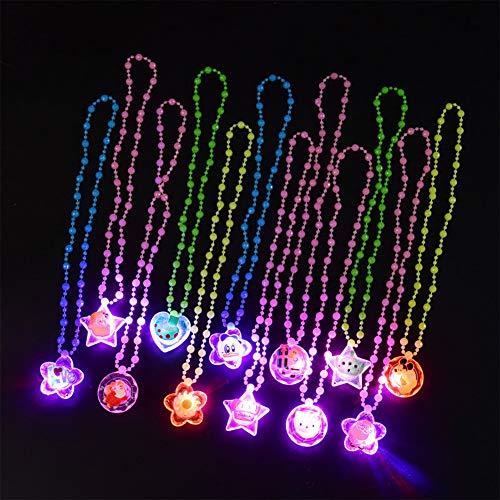 Vientiane LED Blinklichter Halsketten, 12 Stück LED Sparkle Kunststoff Halskette, Bunte leuchtende Halskette und Anhänger, Party Favours Bag Fillers Geschenk Spielzeug für Kinder (Zufällige Stile)