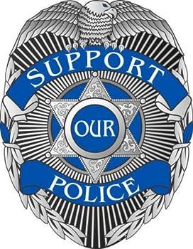 Evan Decals Support Our Police Blue Line Badge Window Decal Vinyl Sticker 4