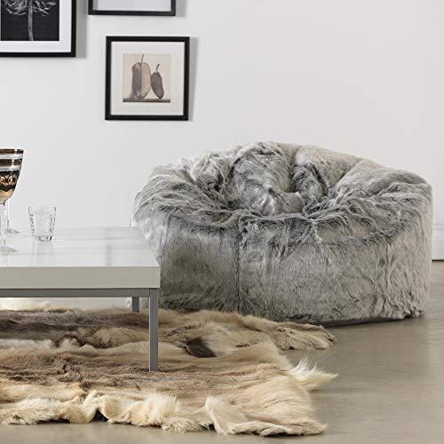 Icon Klassischer Sitzsack aus Kunstpelz, Sitzsäcke für das Wohnzimmer, 85cm x 50cm, Groß, Stuhl für das Schlafzimmer (Arktischer Wolf Grau) - 7