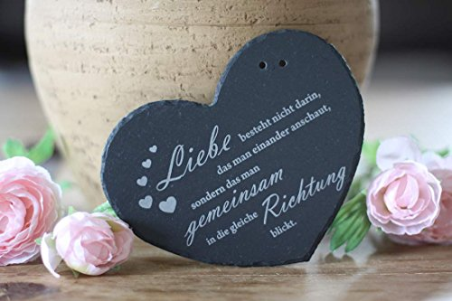 Ringkissen Herz aus Schiefer Liebe - gemeinsame Richtung blicken- Ehering Kissen von condecoro