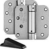 Berlin Modisch 4' x 4' Mortise Spring Hinge with 5/8' Radius Corners, Self Closing, Satin Nickel Finish - Pack of 2 Hinges Item Includes Rubber Wedge Door Stopper