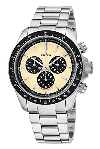 KRONOS - Vintage Sport Chronograph Desert 985.8.35 - Reloj de Caballero de Cuarzo, Brazalete de Acero, Color Esfera: Beige