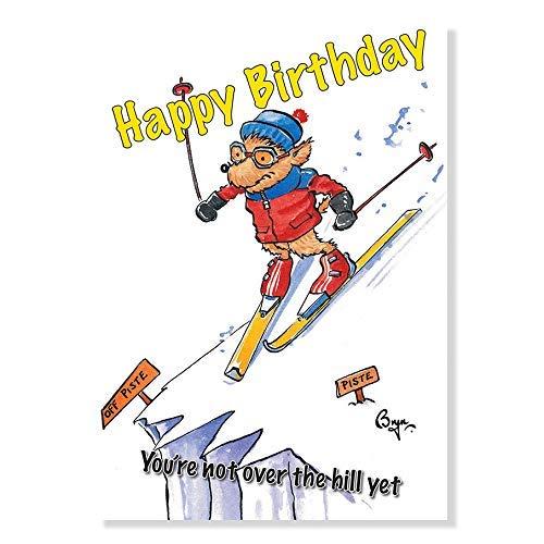 Bryn Parry Geburtstagskarte, Motiv: Skifahren