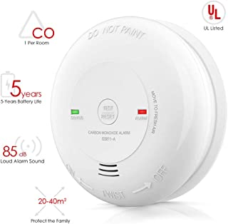Carbon Monoxide Alarm Detector Battery-Operated CO Alarm with UL Listed, Japanese Figaro Sensors CO Alert with Voice Warning, Battery Included
