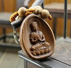 Wood Carved Chinese Dari Kwan Yin Buddha Statue Pendant (3 Pcs)