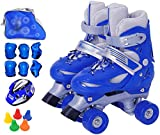 TOPNIU Discoteca Scooter Patines Niños Niñas Doble Relas Skates Set Skates Adult Rollers (Color : Blue, Size : Small 26-32)