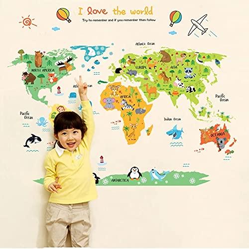Mapa Del Mundo de Dibujos Animados PVC DIY Autoadhesivo Vinilo Pegatinas de Pared Dormitorio Decoración Del Hogar Para Niños Decoración de Habitación Arte Pared Calcomanía Mural (60*90CM)