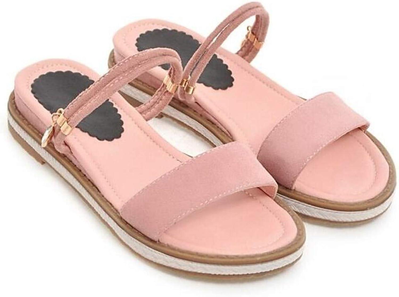 ZHZNVX Women's Suede Fall Sandals Flat Heel White Black Pink