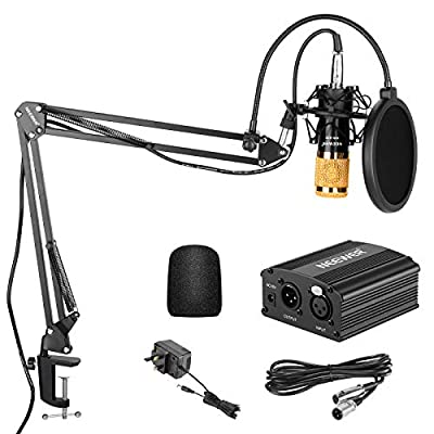 Neewer NW-800 Condenser Microphone Kit - Gold Mic Black 48V Phantom Power Supply NW-35 Boom Scissor Arm Stand with Shock Mount and Pop Filter XLR Male to Female Cable