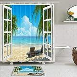 Juego de cortinas y tapetes de ducha de tela,Palmera Océano Playa Paisaje marino Hamacas Balcón Ventanas de madera Esc,cortinas de baño repelentes al agua con 12 ganchos, alfombras antideslizantes