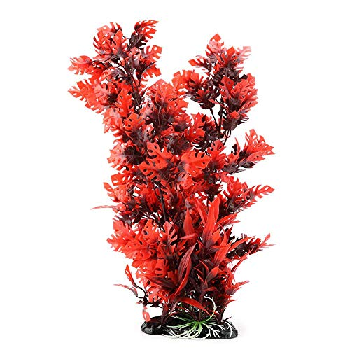 Plantes Artificiel en Plastique pour Aquarium sous-Marin d'aquarium Décoration Vivid de Gazon Artificiel(Rouge)