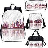 City - Juego de mochilas escolares para niños de 17 pulgadas, diseño de rascacielos, 4 en 1
