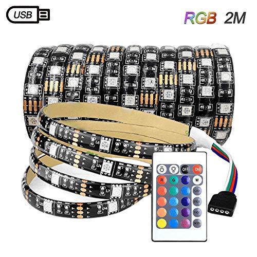 Zorara LED-Strip, USB LED Streifen RGB LED Band 5050 Lichtband mit 24 Tasten Fernbedienung 15 Farben 4 Modi dimmbar LED TV Hintergrundbeleuchtung für Zuhause, Schlafzimmer, TV [Energieklasse A+] (2M)