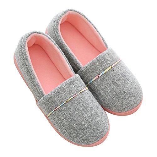 Pantofole di Cotone per Donna - Antiscivolo Scarpe Chiuse Ciabatte Invernali da Pingenaneer M/37-38 Grigio