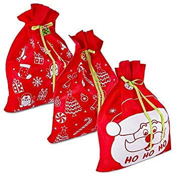 3 Giant Christmas Gift Bags 36  x 44  Reusable Made of Durable Fabric with Ribbon and Gift Tag for Holiday Wrapping Extra Large Jumbo Huge Oversized Toys Gift Bags by Gift Boutique