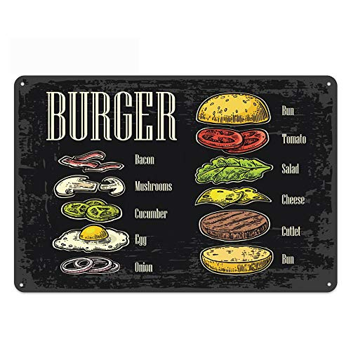 Original Vintage Design Hamburger Tin Metal Wall Art Signs, Thick Tinplate Print Poster Wall Decoration