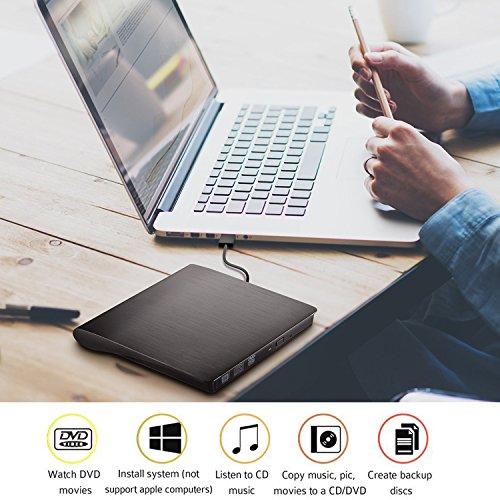 External CD Drive USB 3.0 Portable Slim External DVD Drive, Gipow External DVD CD Drive & CD DVD +/-RW Writer/Rewriter/Player High Speed Data Transfer for Macbook Pro Laptop/Desktops Win 8 (Black)
