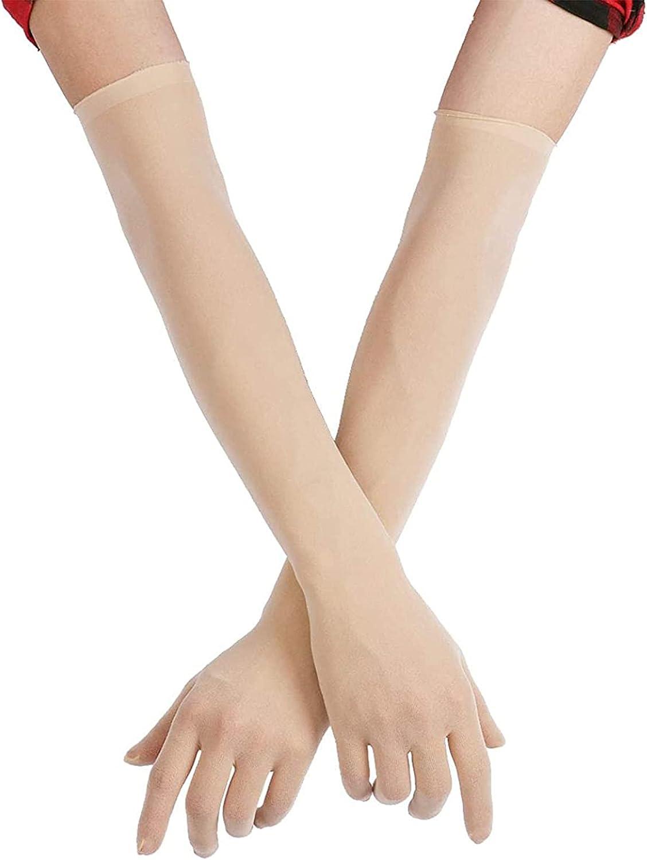 KKmeter Women's Seamless Nylon Mesh Ultra-thin Sheer Opera Length Glove Mittens