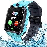 Kids Smart Watch Phone Watch, TLLAYGM LBS Tracker Smart Watch for Kids Waterproof Touch Screen Kids Smartwatch for Boys Girls 3-13 Years Kids Birthday Gift (Blue)