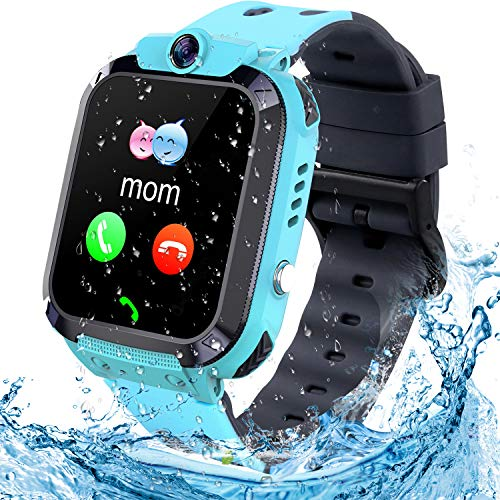 Smartwatch Kinder Uhr Tracker Kinder, TLLAYGM Wasserdicht LBS Smartwatch für Kinder Touchscreen Kids Smart Watch Kinderuhr Mädchen Jungen Kinder Geschenke 3-12 Jahre (Hellblau)