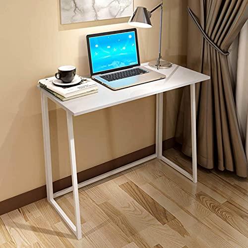 YNN Escritorio Plegable Estilo Industrial Pequeño Aprendizaje Tabla De Computadora Saving Space Home Office, 80x45x74cm(Color:Blanco)