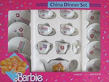 Barbie 16 Pieces China Dinner Set w Tea Pot Tea Cups & Saucers & Plates  1989