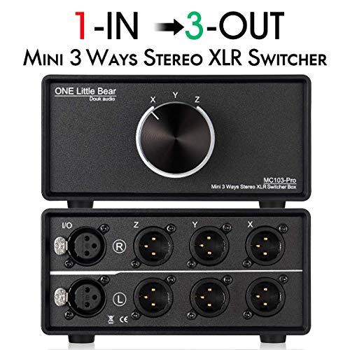 Nobsound 1-IN-3-OUT - Switch audio XLR bilanciato, 3 vie, stereo passivo