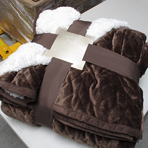 Sherpa Flannel Plush Quilted Blanket -Luxurious Large Warm Thick (King, Chocolate)