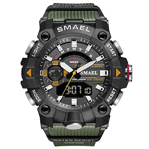 JTTM Analoge Digitale Sportuhr Für Herren 5 ATM Wasserdicht Digital Military Uhren Mit Countdown/Timer/Alarm Für Herren, Stoßfest LED Analog Running Man Armbanduhr,Army Green