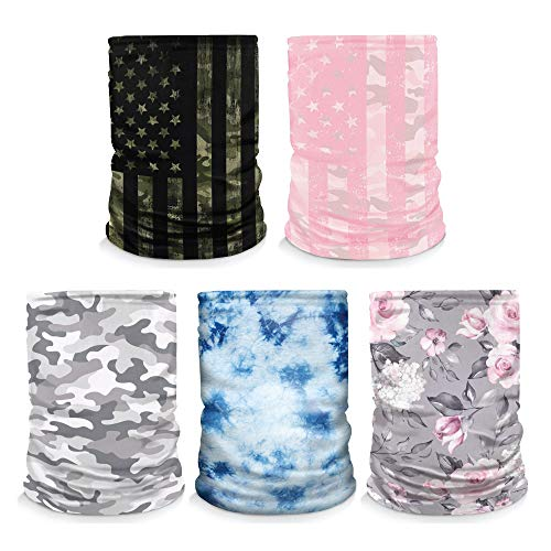 Controller Gear [5 Pack] Neck Gaiter - Face Mask - Made in USA. Green Flag/Snow Camo/Pink Camo/Blue Tie Dye/Floral - Not Machine Specific