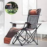 MOKY Tumbona reclinable de Aluminio al Aire Libre Jardín Patio Muebles de la Cubierta Cama Día Silla Plegable Tumbona Sombrilla (Naranja)