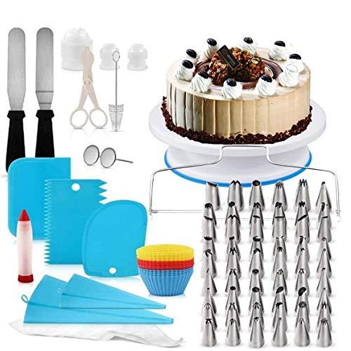 Torta Giratoria y Boquillas,Boquillas para manga pastelera,Cake Turntable,Decoración de Pasteles Kit,Torta Giratoria,Plato Giratorio para Pasteles para Principiantes y Amantes de Pasteles (181pcs)