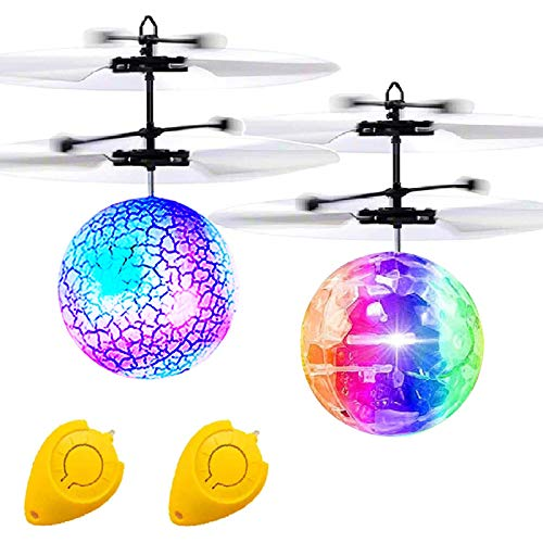 2 Pack Flying Ball Kids Toys RC Toys Remote Control Helicopter Infrared Induction Holiday Christmas Toy for Boys Light Up Ball RC Flying Drones Indoor Outdoor Games Xmas Gifts for Kids