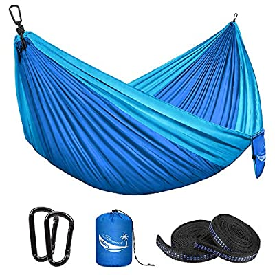 JBM Camping Hammock Single & Double Portable Hammock Hiking Travel Backpacking - Nylon Hammock Swing - Support 400lbs with Nylon Ropes and Steel Carabiners (Double - Dark Bule & Baby Blue)