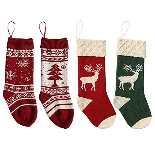4pcs Reindeer Acrylic Christmas Stockings Candy Gifts Bag Hanging Ornaments
