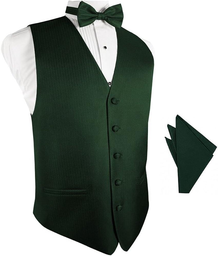 Hunter Herringbone Tuxedo Vest with Bowtie & Pocket Square Set