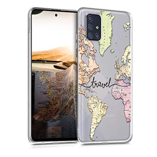 kwmobile Hülle kompatibel mit Samsung Galaxy A71 - Hülle Silikon transparent Travel Schriftzug Schwarz Mehrfarbig Transparent