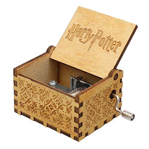 PRXD Caja de música, Manualidades de Caja de música clásica de Madera con manivela, Mecanismo de 18 Notas Caja Musical Tallada Antigua Regalos para niños/Amigos/Adultos (Harry Potter)