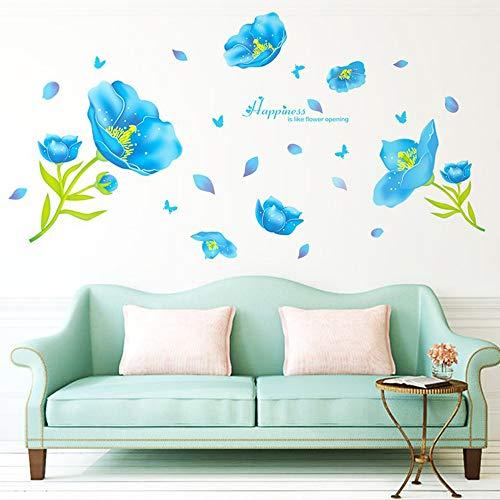 Creative Amovible Fleur Stickers muraux Bricolage Romantique Floral Bleu Mur Autocollant peintures murales Art Décor pour Enfants Filles Bureau Adolescents Chambre Salon Maison, 56x32 Pouces