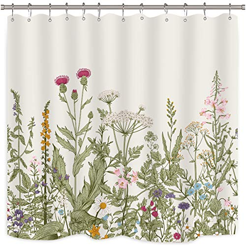 Riyidecor Green Leaves Shower Curtain Floral Flower Tulip Tree Plants Ivy White Brown Herbs Decor Bathroom Set Polyester Waterproof 72Wx72H Inch Plastic Hooks 12 Pack