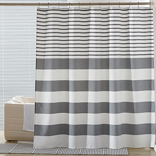 SEMECH Grey Shower Curtains for Bathroom, Fabric Shower Curtain Grey and White Shower Curtains with Button Holes 72x72 Inches