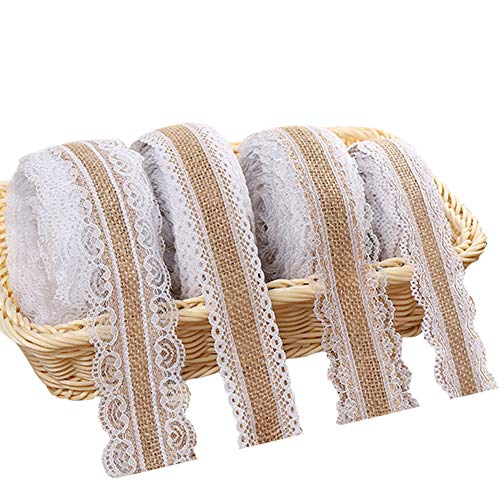 Juteband mit Spitze Weiß, Vintage Spitzenband Sackleinen Band Rolle mit Spitze-Borten für Hochzeit Weihnachten Basteln Geschenke Deko, Jute Spitze Dekoband auf einer Rolle (4 Stück, 2 Meter)
