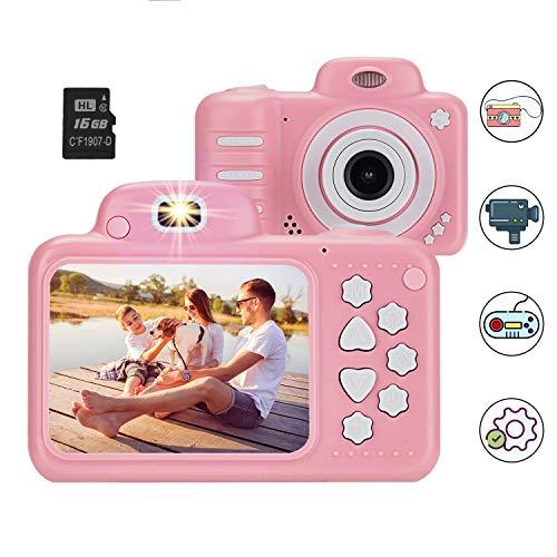 Kinderkamera Digitalkamera Kinder, Vannico Kamera für Kinder Kids Camera Selfie Kamera Videokamera 8 Megapixel mit 16G SD Karte, Geschenk für Jungen und Mädchen (Pink)