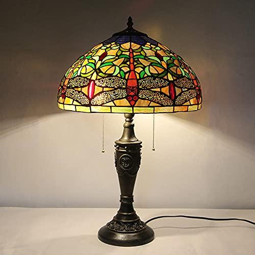 Moderno Minimalista Pastoral Dragonfly Tiffany Lámpara de mesa de cristal Pintura de vidrio Lámpara de cama Láminas de libélulas Diseño Serie de colores Lámpara de mesa Lámpara de mesa Lámpara de noch