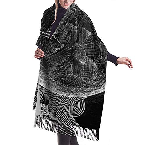 maichengxuan Bufanda Womens Bufanda de Invierno Space Cashmere Scarf Black Pashmina Shawl Wraps Soft Warm Blanket Scarves For Women Fluffy Comfortable Light And Warm