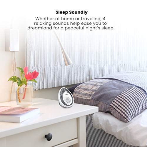 White Noise Sound Machine | Portable Sleep Therapy for Home, Office, Baby & Travel | 4 Relaxing & Soothing Nature Sounds, Battery Operated, Auto-Off Timer | HoMedics