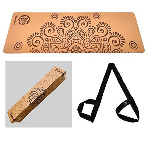 SAMARALI Moon Eclipse Cork And Natural Rubber Yoga Mat Eco-Friendly Non Slip Exercise Mat...